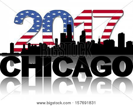 Chicago skyline 2017 flag text illustration