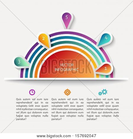 Vector infographic scheme with colorful circles, data display concept with text, bright colors