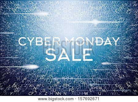 Cyber Monday Technological Background with Letters and Neon Lights. Sale Concept.