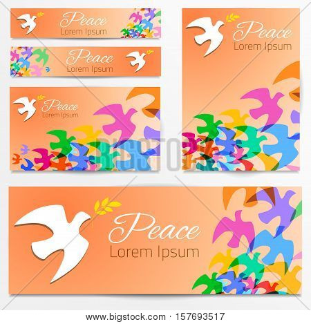 Colorful doves silhouettes White dove, olive branch. Symbol of peace. Logo, poster, banners template. Vector illustration.