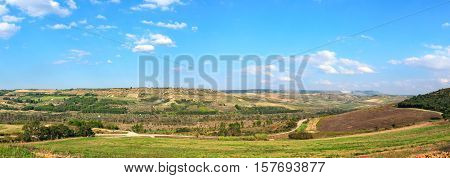 Basilicata typical rural landscape in daylight panoramic