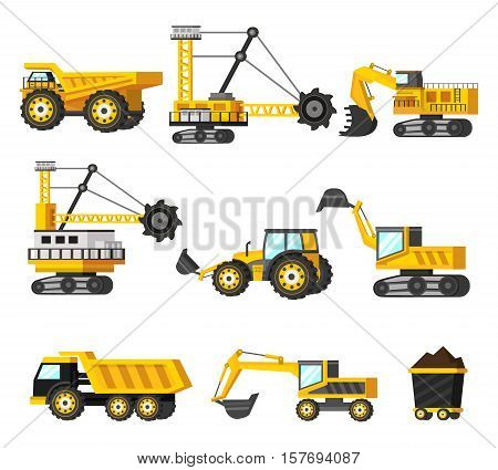 Nine isolated orthogonal mining industry decorative icons set with images of mining technics and transportation vehicles vector illustration