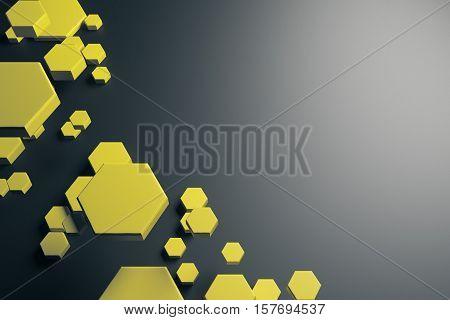 Yellow Hexagon Pattern Background
