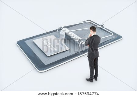 Thoughtful man looking at mobile phone with mouse trap on white background. Smartphone dependency concept. 3D Rendering