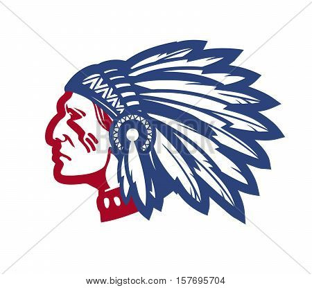 American native chief. Vector illustration isolated on white background