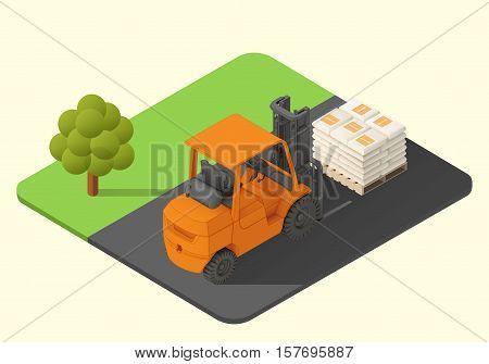forklift truck vector isometric illustration. stacker machine axonometric