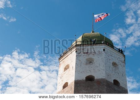Vyborg, Russia September 25, 2016: Olaf's tower in the Vyborg castle in the sky