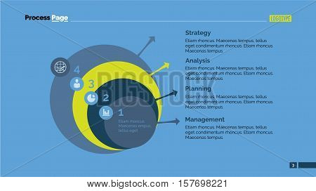 Four step diagram. Business data. Presentation element, diagram, chart. Creative concept for infographics, business templates, reports. Can be used for topics like strategy, planning, commerce