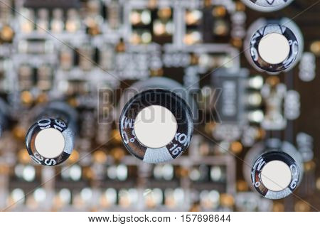 The capacitors on the motherboard macro blur