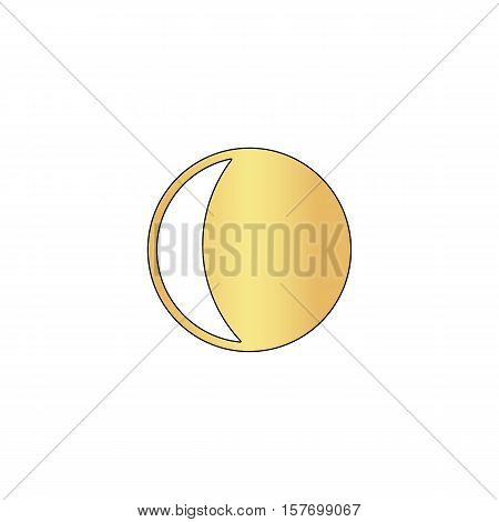lunation Gold vector icon with black contour line. Flat computer symbol