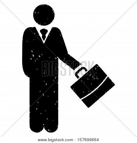 Standing Businessman grainy textured black icon for overlay watermark stamps. Flat symbol with scratched texture. Dotted vector ink rubber seal stamp with grunge design on a white background.
