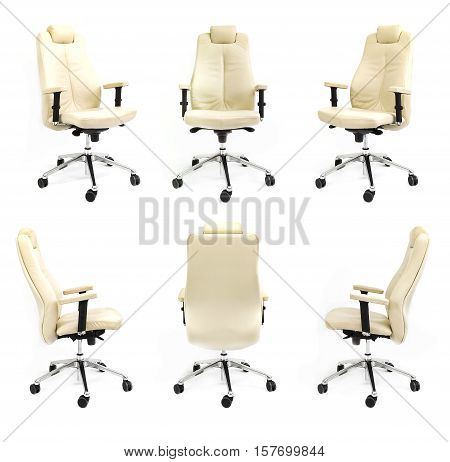 chair back front side armchair white collection black isolated business new studio seat luxury decor collage equipment adjustable relaxation nobody client arm elbow concept - stock image