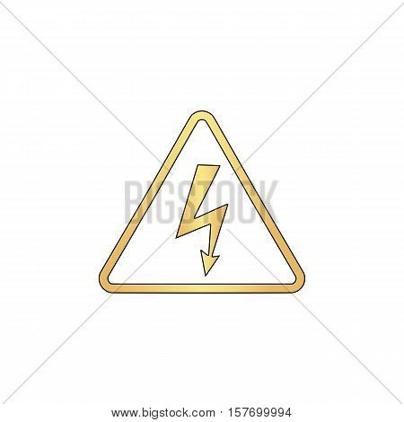 High voltage Gold vector icon with black contour line. Flat computer symbol
