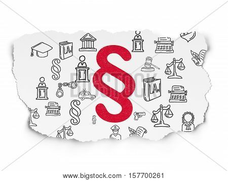 Law concept: Painted red Paragraph icon on Torn Paper background with  Hand Drawn Law Icons