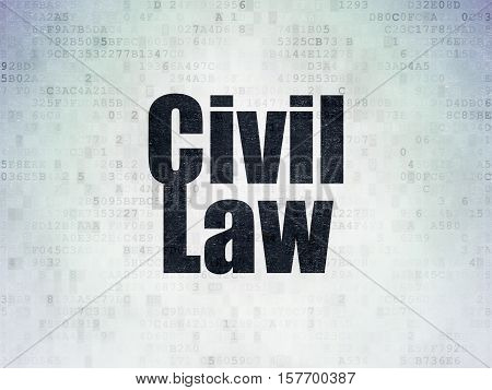 Law concept: Painted black word Civil Law on Digital Data Paper background