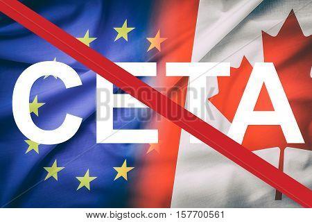 canada canadian partner european union euro eu rights usa ceta flag negotiation europa trade ttip economic concept - stock image
