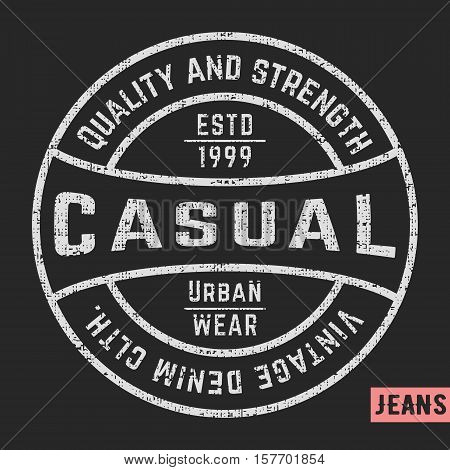 T-shirt print design. Casual vintage stamp. Printing and badge applique label t-shirts jeans casual wear. Vector illustration.