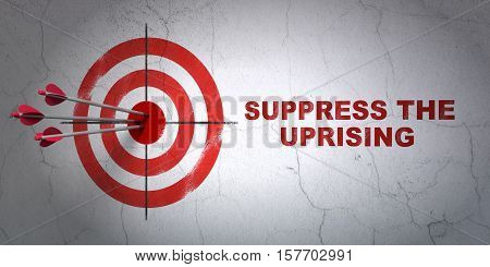 Success politics concept: arrows hitting the center of target, Red Suppress The Uprising on wall background, 3D rendering