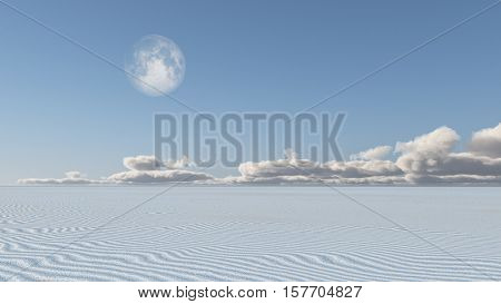 White Sand Flat Desert with Moon 3d Render  Some elements provided courtesy of NASA