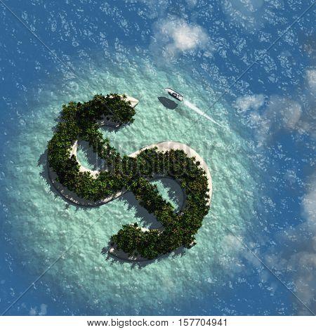 Dollar Sign Island 3d Render