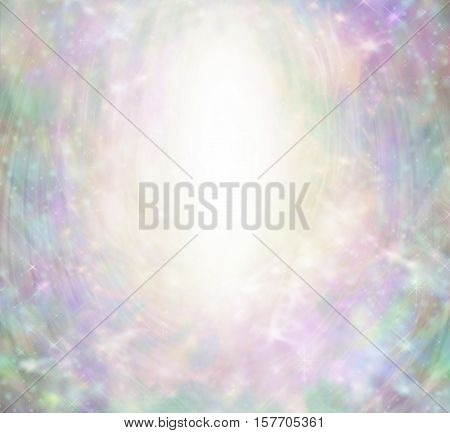 Magical Angelic Sparkling Border Background - white oval center  with subtle fairy-like theme of pink, jade green, purple, gold colors and sparkles