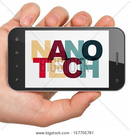 Science concept: Hand Holding Smartphone with Painted multicolor text Nanotech on display, 3D rendering
