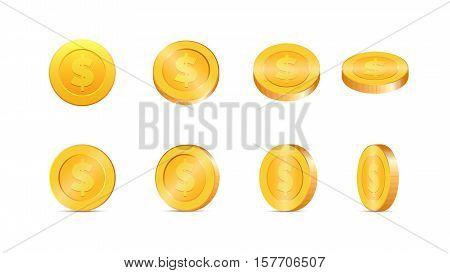3d Gold coins vector illustration. Gold coins in different shapes