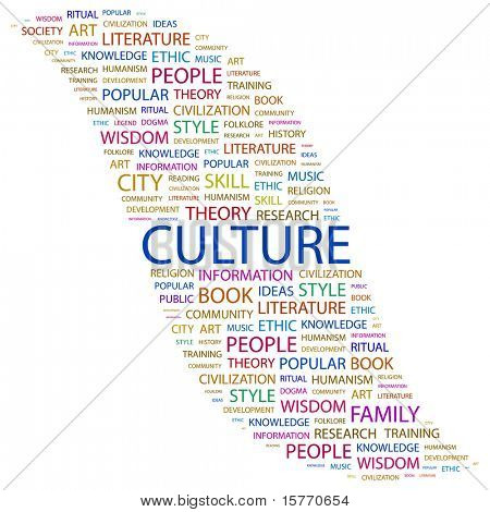 CULTURE. Word collage on black background. Vector illustration. Illustration with different association terms.