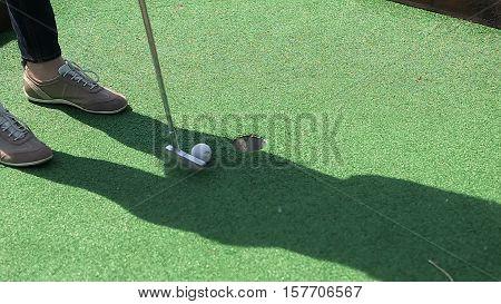 Minigolf game sport summer golf  club playing