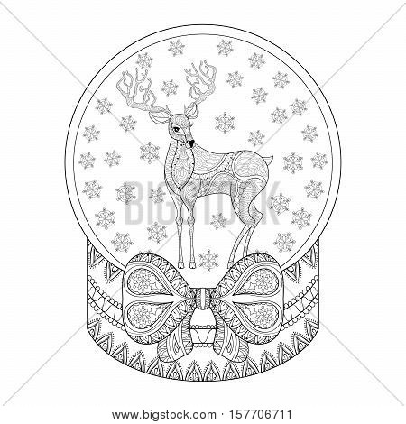 Vector zentangle Christmas snow globe with reindeer, snowflake. Hand drawn snowglobe for adult coloring book, pages, art therapy. Illustration for New Year 2017, posters and greeting cards, book cover template