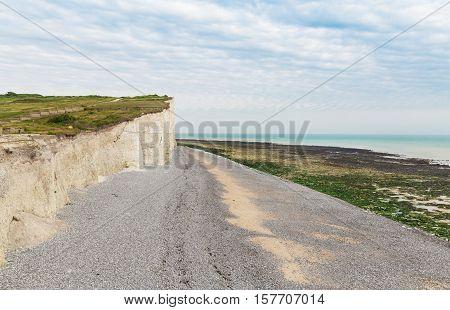 Popular white cliff Birling Gap coast, West Sussex, England, United Kingdom poster