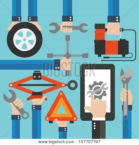 Car Online Service modern flat design.Vector illustration