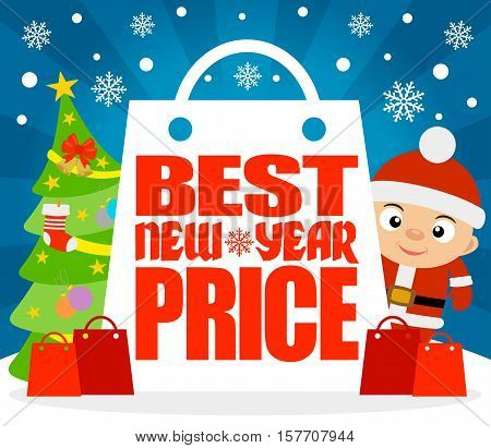 Best New Year Price card with boy in costume Santa.Vector illustration