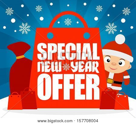 Special New Year Offer card with funny boy.Vector illustration
