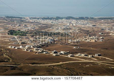 Aerial View over city Taqah Sultanate of Oman region Dhofar Salalah