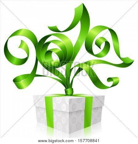 Vector green ribbon and gift box. Symbol of New Year 2017