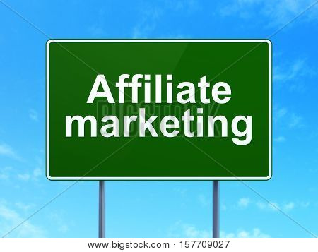 Business concept: Affiliate Marketing on green road highway sign, clear blue sky background, 3D rendering