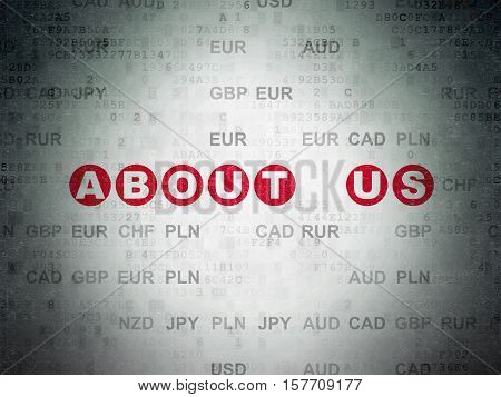 Business concept: Painted red text About us on Digital Data Paper background with Currency