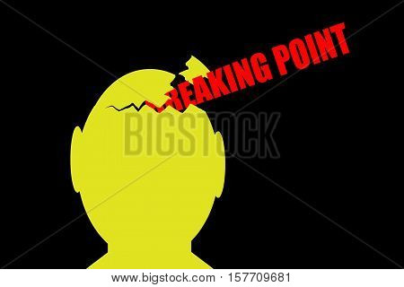 Breaking point. Yellow broken head on black background with text breaking point.