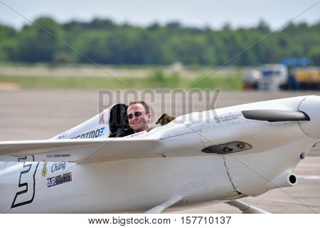 CHONBURI - NOVEMBER 20 : Stanislas Damiron pilot of France with Western Air Racing aircraft in Air Race 1 Thailand at U-Tapao International Airport on November 20 2016 in Chonburi Thailand.