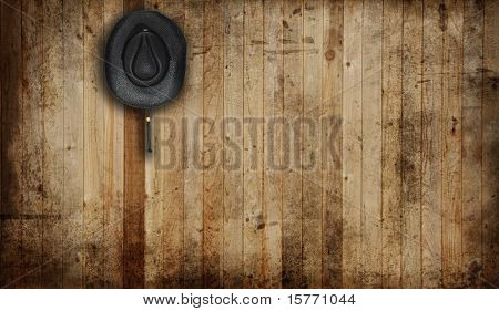 Cowboy hat, against an old barn background.