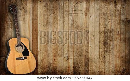 Guitarra acústica de fondo un viejo granero.