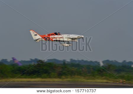 CHONBURI - NOVEMBER 20 : Steve Temple pilot of USA with Boyd GR-7 Panther aircraft in Air Race 1 Thailand at U-Tapao International Airport on November 20 2016 in Chonburi Thailand.