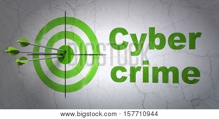 Success protection concept: arrows hitting the center of target, Green Cyber Crime on wall background, 3D rendering