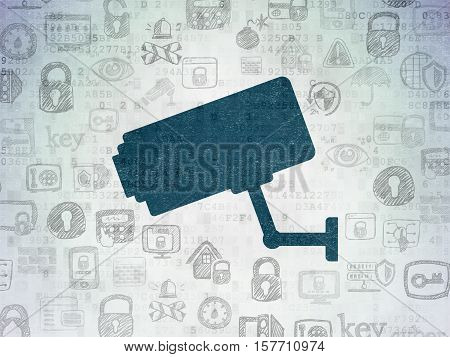 Security concept: Painted blue Cctv Camera icon on Digital Data Paper background with  Hand Drawn Security Icons