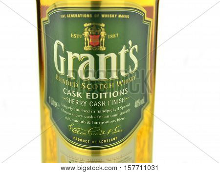 CIRCA NOVEMBER 2016 - GDANSK: Grants blended cask editions whiskey isolated on white background. Grants has been produced by William Grant and sons in Scotland since 1887