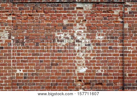 Worn Grungy Red Brick Clay  Facade Wall Texture Background