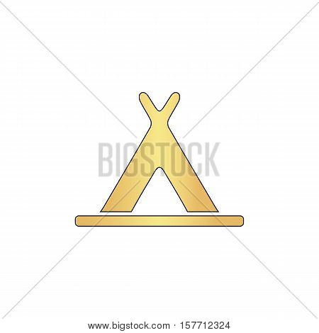 Wigwam Gold vector icon with black contour line. Flat computer symbol