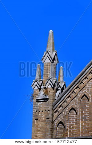 Birds have made a nest in the architecture of the St. Joseph Catholic Church in Greenville Mississippi.