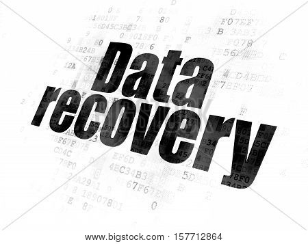 Data concept: Pixelated black text Data Recovery on Digital background